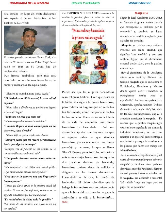 HUMORADA DE LA SEMANA DICHOS Y REFRANES SIGNIFICADO DE